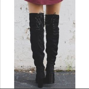 Shoes - Black Vegan Suede Over The Knee Boots